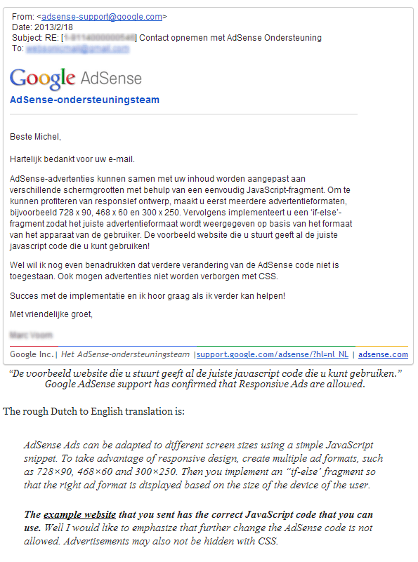 Google Adsense Responsive Design Approval