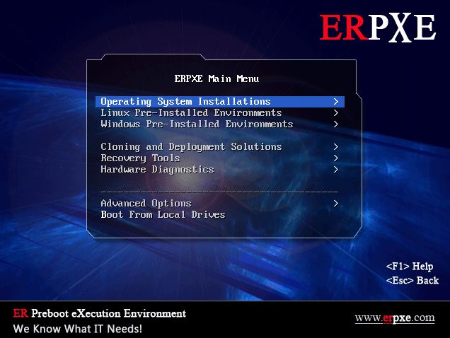 ERPXE menu