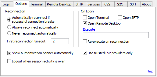 Remote Desktop over SSH using Tunnelier2