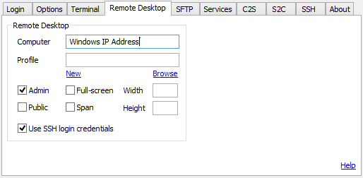 Remote Desktop over SSH using Tunnelier3